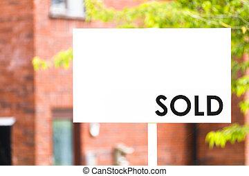 집, 팔린다, 부동산 중개업자, 표시
