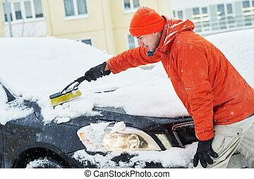 차, 남자, 청소, 눈