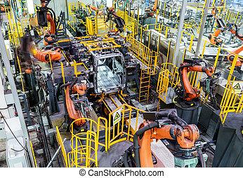 차, 선, 생산, 로보트