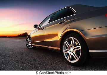 차, rear-side, 보이는 상태
