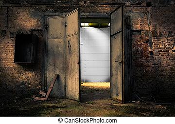 창고, 금속, rusty, 문, 자포자기한