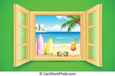창문, 바닷가, 바다 전망