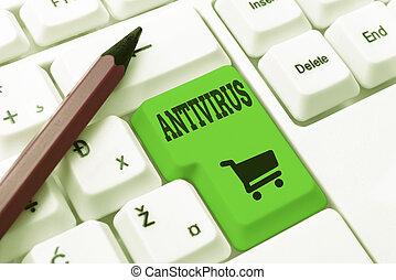 창조, 개념의, 제거, 컴퓨터, 복잡하게 하는, 처리, 코드, 프로그램, 발견, antivirus., 고정, 바이러스, 프로그램, 새로운, 낱말, suitable, 전시