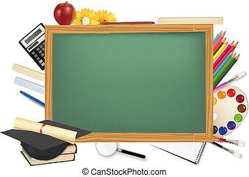 책상, 공급, 학교, 녹색