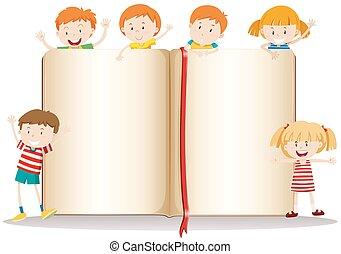 책, 디자인, 아이들, 행복하다