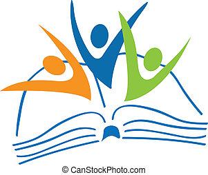 책, 로고, 학생, 은 계산한다, 열려라