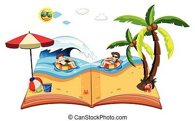 책, 바닷가, 위로의, 전당 잡히다, 장면