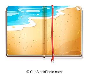 책, 바닷가 장면