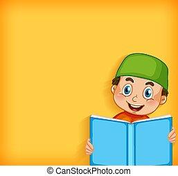 책, 본뜨는 공구, 행복하다, 디자인, 소년 독서, 배경, 이슬람교도의