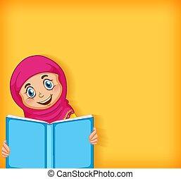 책, 본뜨는 공구, 행복하다, 디자인, 여아 독서, 배경, 이슬람교도의