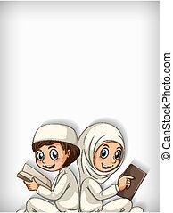 책, 본뜨는 공구, 2명의 아이들, 디자인, 독서, 배경, 이슬람교도의