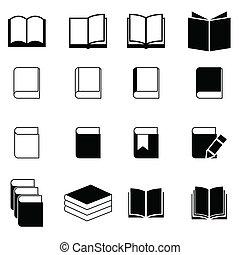 책, 세트, 아이콘