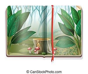 책, 숲, 장면