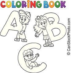 책, 채색, 편지, abc, 아이들