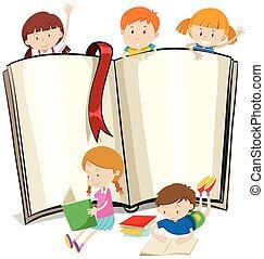 책, 책, 디자인, 아이들, 독서