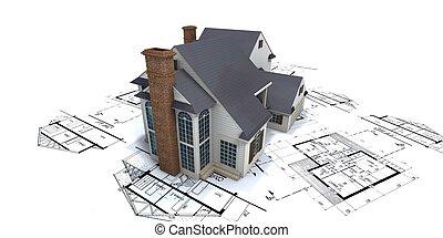 청사진, 집, 정상, 2, 건축가, 주거다