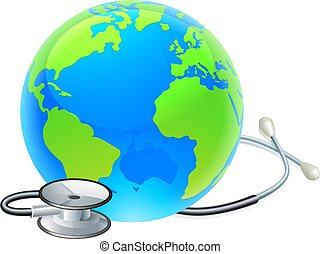 청진기, 지구, 세계, 일, 개념, 지구, 건강