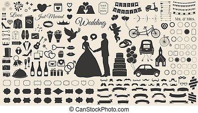 초대, 세트, 디자이너, 포도 수확, 성분, 신부, 결혼, 디자인, 결혼식, 연장 모음