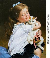 초상, 소녀, 고양이