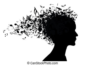 초상, 여자, 실루엣, 음악