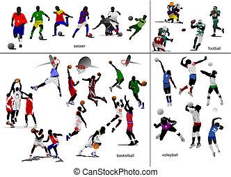축구, 축구, 삽화, 벡터, 게임, volleyball., 농구, ball.