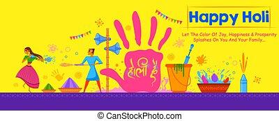축제, 다채로운, 행복하다, 축하, 인사, holi, 배경, 색