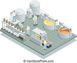 치즈, 동일 크기다, 생산, 공장, 구성