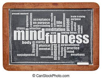 칠판, 낱말, 구름, mindfulness