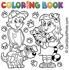 칠하기 그림책, 애완 동물, 아이들