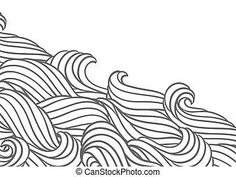 카드, 강, 또는, waves., texture., 디자인, 바다, 물, 배경