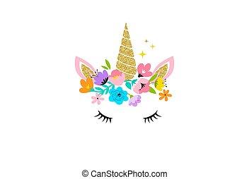 카드, -, 디자인, 꽃, 머리, 셔츠, 일각수