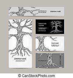 카드, 디자인, 나무, 사업, roots.