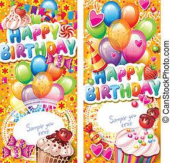 카드, 생일, 수직선, 행복하다
