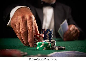 카드, 카지노, 선수, 칩, 노름하는