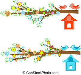 카드, birdhouses, 은 분기한다, 새, 착석