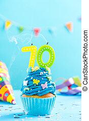 카드, mockup., seventieth, 컵케이크, 70th, 생일, 밖의., 양초, 타격