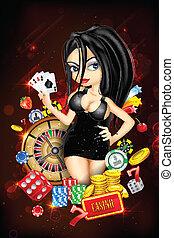 카지노, 숙녀, 카드