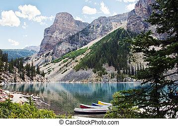 캐나다, banff국립 공원, 호수, 빙퇴석, alberta