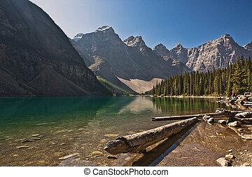 캐나다, banff, -, 국립 공원, 호수 빙퇴석, alberta