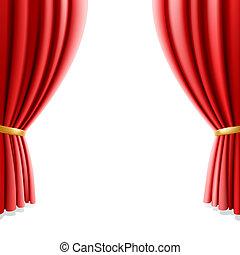 커튼, 백색, 극장, 빨강