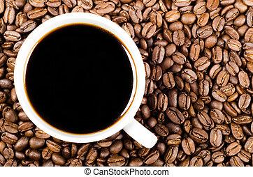 커피, 공간, 필터, 콩, 검정, 사본