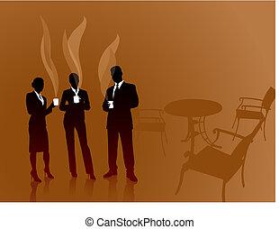 커피, 비즈니스 팀, 걷히다, 배경, 인터넷