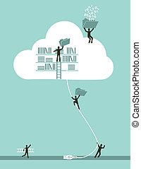 컴퓨팅, 구름, 개념, 사업