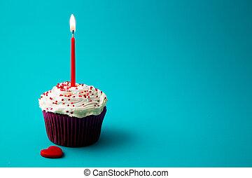 케이크, 단 것, 거의, 생일 초