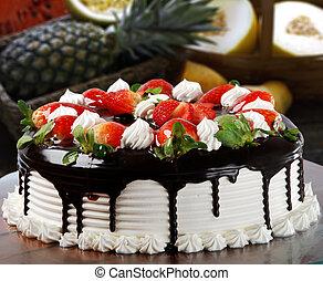 케이크, 딸기, 생일, 은 크림을 휘저었다