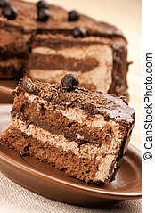케이크, 상세한 묘사, 집에서 만든, 초콜릿 과자