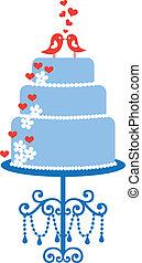 케이크, 새, 벡터, 결혼식