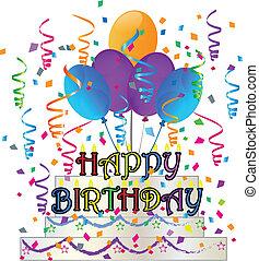 케이크, 색종이 조각, 생일, 행복하다