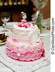 케이크, 장식식의, 생일, 퐁당 과자