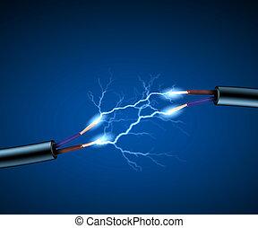 코드, 전기, 전기, sparkls